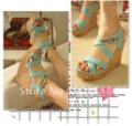 Freeshipping Low Price Lady Wedge Sandals High Heel Sandals SHOES  Beige and Green EUR size 35-39 #ML010-1