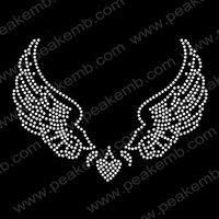 30pcs/Lot Free Shipping Wings Heart Crystal Rhinestone Iron On Transfers Custom Design Available