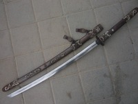 Collectable WWII Japanese Katana/ DAO&Sword, copper sheath,Gilt silver carved dragon,Free Shipping