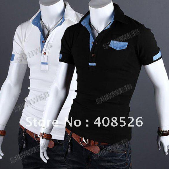 New-Men-s-Shirt-Casual-Polo-T-Shirt-Stylish-Slim-Short-Sleeve-Fit-Tee ...