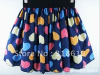 Korean Fashion Women chiffon Pleated Waisted Short Skirt Printed heart shape Free Shipping