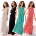 2012 spring beach full dress elegant bohemia solid color dress chiffon one-piece dress
