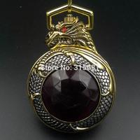 Golden Tone Dragon Wind Up Mechanical Men's Pocket Watch 5 Hand W/ Chain Gift