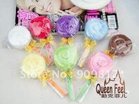 Free Shipping Gold ribbon lollipop cake towel, Wedding return gift, 8 color 28g 100pcs/lot