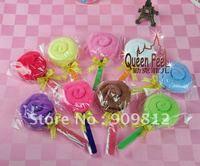 Free Shipping Gold ribbon lollipop cake towel, Wedding return gift, 8 color 28g 200pcs/lot