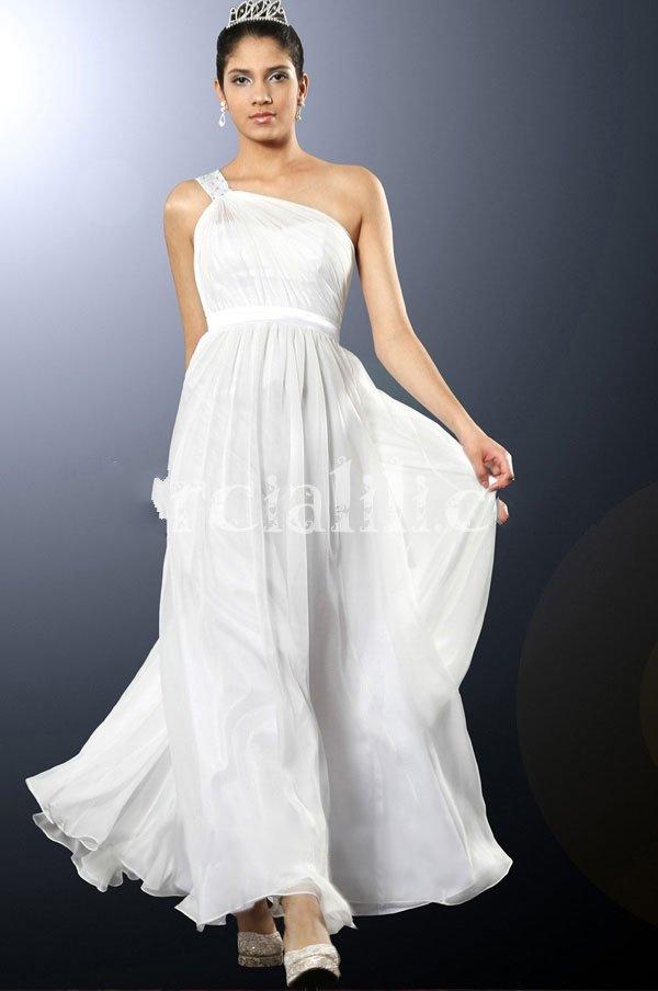 New 2012 A-line One Shoulder Satin Belt Floor-length Silk Chiffon Evening Dress Bridesmaid Dresses(China (Mainland))
