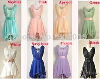 Fashion Womens Bandage Halter lotus Ruffles Summer Dress Chiffon 2 Pcs set Tank dress