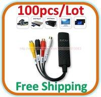 100pcs/lot USB 2.0 Easycap TV DVD VHS Audio Video Capture Adapter Converter