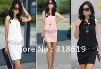 Korean Women Graceful Chiffon Dress o-neck short skirt dress Summer Free Shipping