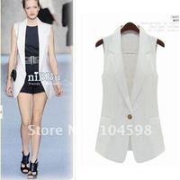 2012 New fashion womens medium-long one button vest waistcoat,white,black,F001-cn