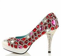 Drop shipping New Blue Red Sexy high heels shoes handmade wedding Rhinestone Crystal platforms women's pumps plus size 33-42