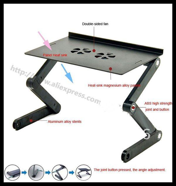 Free shipping, laptop desk,Double-fan foldable notebook table, aluminum alloy folding drawing board stand, Adjusting laptop desk