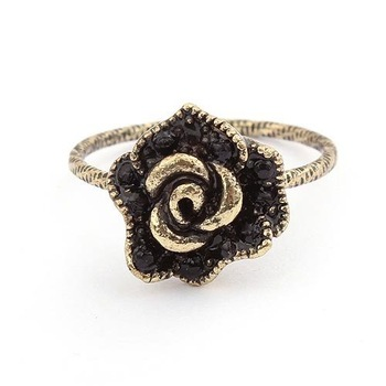 New Style Fashion Jewelry Lovely Passion Roses Rings Wholesale Free Shipping(Gold)#88614