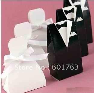 100 pcs black and white favor box bride groom wedding boxpaper box, Freeshipping(China (Mainland))
