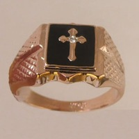 Free shipping.Gift insurance. Cross black  Onyx & Topaz 18K GP Rose Gold Ring.size:8-11 .Wholesale can mix build