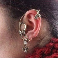 Wholesale Amazing Fashion Punk Gothic Flower Rhinestone Retro Stud Earring Cuff 2 Colors