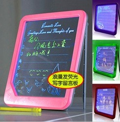 wholesale free shipping New Arrival Romantic Fluorescence Message Board LED Writing Menu Light Up Glowing Message Board(China (Mainland))