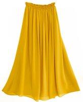 Free shipping  Women's high quality  Chiffon long  skirt full linning  pleated Retro Maxi Skirt S2002