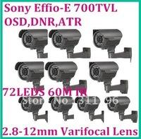 Video alarm system CCTV 60m  IR Camera With 72PCS IR Leds 2.8-12mm Manual Zoom Lens 700TVL Effio-E OSD ,10pcs/lot