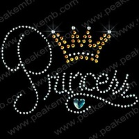 30pcs/Lot Free Shipping Custom Design Available Princess Crown Rhinestone Transfer Iron-on