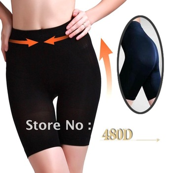 10pairs/lot, 480 Denier, 80% nylon/20% lycra, black/skin, women's compression shaping opaque tight shorts