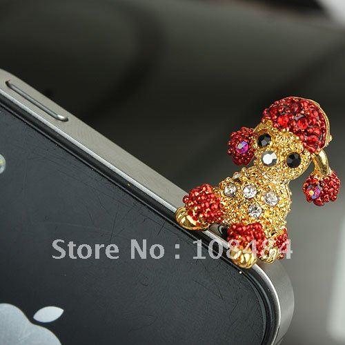 Free Shipping 24pcs/lot Rhinestone Minipol Ear Cap for Cap Mobile Phone Earphone Jack Anti-dust Plug(China (Mainland))