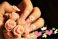 FREE SHIPPING ,new arrival,  3D design flower elegant FALSE NAIL 24pcs/lot,artificial nails/  The bride wedding party