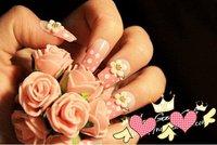 FREE SHIPPING ,new arrival,  3D design flower elegant FALSE NAIL 24pcs/lot,artificial nails/  The bride wedding party