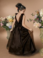 UPS freeshipping jewel neck balck satin and organza A-line full length flower girl dress, little wedding party gown 2-10