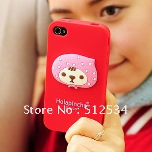 1 pcs/lot&Free shipping Hot selling Strawberry Girl Red Riding Hood Silicon Case For iPhone 4 cover(China (Mainland))