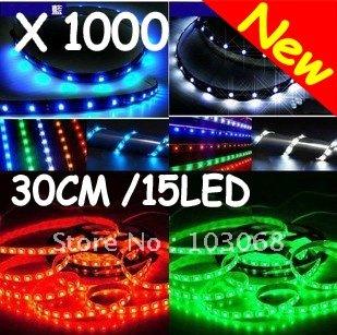New AUTO CAR 30cm 15 Led 3528 SMD LED Strip Light / LED Flexible Bar Wholesale Lots OF 1000(China (Mainland))