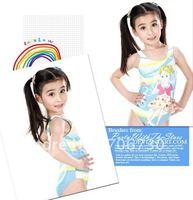 (10Pcs/Lot)Free Shipping Wholesale 2012 New High Quality Children's/Kids Swimsuit,Cute Girl Cartoon One-Piece Swimwear 6-15years