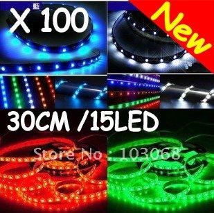 New AUTO CAR 30cm 15 Led 3528 SMD LED Strip Light / LED Flexible Bar Wholesale Lots OF 100 + FREE SHIPPING(China (Mainland))