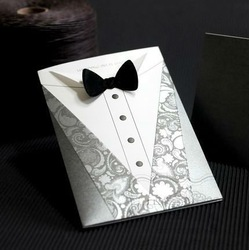 Groom Wedding Invitation Card with Black Tie (Set of 100) Printable &amp; Customizable Wholesale Free Shipping New(China (Mainland))