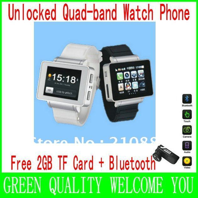 Free Bluetooth + 2GB TF Card Unlocked moblie watch phone 1.8 inch touch screen sliding menu java, FM 2.0mp camera(China (Mainland))