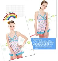 (10Pcs/Lot) Free Shipping Wholesale 2012 New High Quality Children's/Kids Swimsuit,Lovely Girl Blue One-Piece Swimwear 6-14year