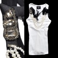 2012 AMIO luxury pearl gem three-dimensional corsage cool tank