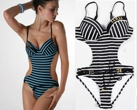 2013 Women's Stripped Bikini Cut Waist Monokini, Extra Size Black Stripped Long Torso Swimwear ,XXL