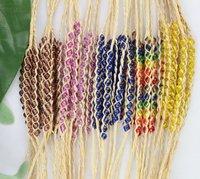 FREE POSTAGE 15PCS Mixed colours glass seed braided raffia bracelets #21621