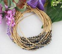 FREE POSTAGE 12PCS Black glass seed beaded braided raffia bracelets #21625