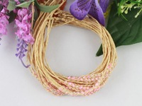 FREE POSTAGE 12PCS Pink glass seed beaded braided raffia bracelets #21626