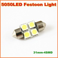 10pairs/lot High quality 31mm 4SMD 5050 LED Auto Car  Festoon LED Licence Plate Light can as Interior Dome Roof  Reading  Light