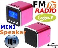 Digital portable Speaker Mini Speaker MP3 Player USB Disk Micro SD TF Card FM Radio Line In/ Out sound box  Colored select