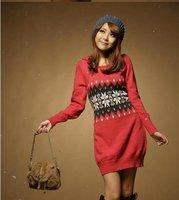 Весна-осень женский потерять o-образным вырезом свитер вязаный ананас плюс размер свитер платье верхняя одежда/женская благородных трикотаж 55021