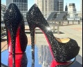 red bottom shoes black strass crystal weddding shoes platform pump bridal prom shoes 2012 newest styles free shipping drop ship