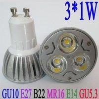 Free shipping 3W high power  led lamp AC85-265V GU10 E27 E14 B22 GU5.3 MR16-12V  Warm White LED bulb Lamp led lighting
