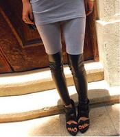 564 2014 cotton+faux leather patchwork legging elastic Leggings boot cut jeans