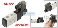 Free Shipping 2 Postion 5 way 4V210-08 Inner Guide Pneumatic Solenoid Valves 1/4'' DC12V (factory)