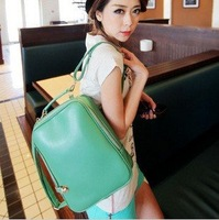 2012  girl&#39;s casual backpack,handbag comobo use,bag wholesaler, green,orange, red color,free shipping