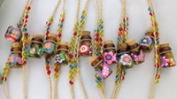 FREE POSTAGE 6PCS Wishing Bottle Charm Raffia Bracelets #21658